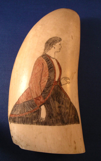 Antique Scrimshaw Tooth with a Woman