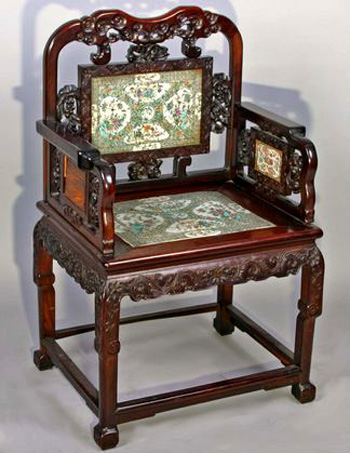 China Trade Arm chair with Famille Verte Porcelain Panels