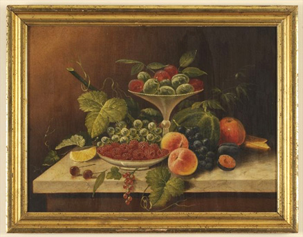 O/C Still Life with Fruit on a Marble Slab