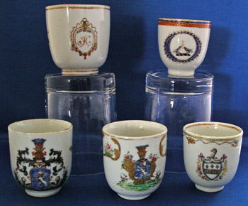Collection of 5 Armorial Demitasse Cups