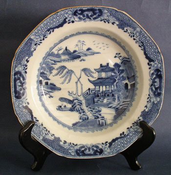 PAIR of Blue and White Chinese Export Soup Bowls