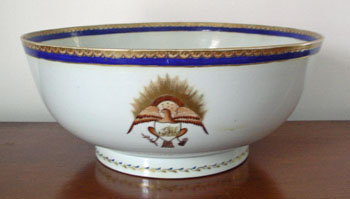 Huge Eagle Decorated Punch Bowl 14 3/4