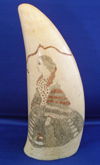 Scrimshaw Polychrome Decorated Tooth