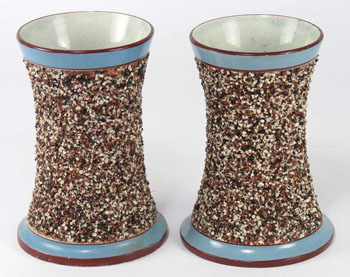 A Pair of Mocha Sand Decorated Vases