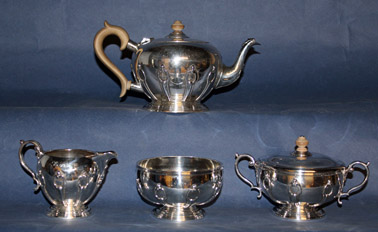 Four Piece Art Deco Sterling Tea Service by Crichton & Co.