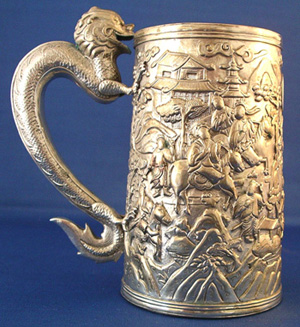 Chinese Export Silver Cann with Dragon Handle