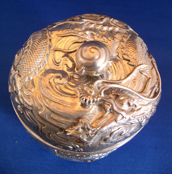 Chinese Export Silver Round Box with Dragon Decoration