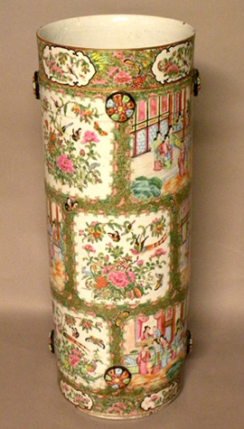 Chinese Export Rose Medallion Umbrella Stand
