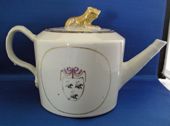 Armorial Tea Pot with British Lion Finial Arms of Booth