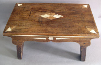 Scrimshaw Decorated Walnut Footstool