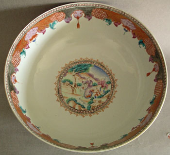Rare Chinese Export Hunt Bowl