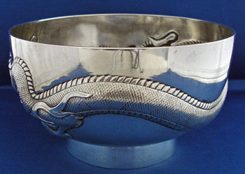 Chinese Silver Dragon Bowl