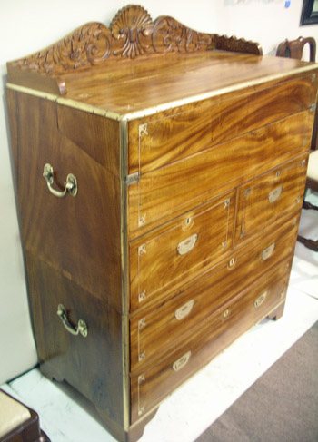 Brass Inlaid Camphor Wood Campaign Desk