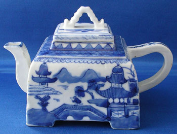 Rare Square Canton Tea Pot