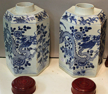 Very Large Pair of Chinese Export Blue and White Tea Canisters