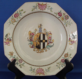 Pair of Chinese Armorial Plates, Arms of Simpson impaling Brydges