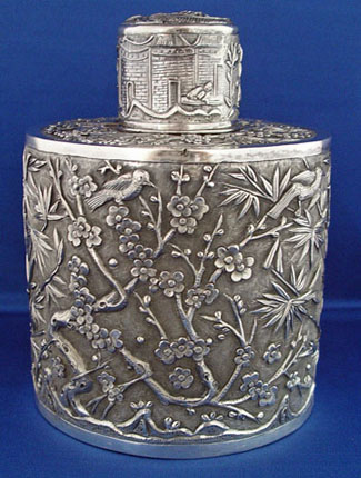 Very Large Chinese Silver Tea Cady