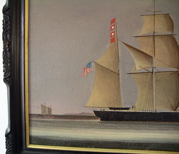 China Trade Oil Painting of  an American Ship Approaching Macao