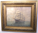 O/C of Full Rigged Ship signed Bruce Conrad