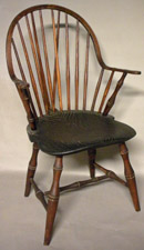 Brace Back Continuous Arm Windsor Chair Branded E. TRACY