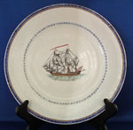 Chinese Export Ship Plate for the Danish Market