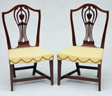 A Pair of Hepplewhite Connecticut Cherry Side Chairs.